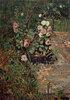 Rosenstrauch und Grabplatte