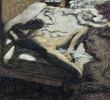 Femme assoupie su un lit, ou LÕindolente