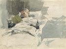 Die Frau des Künstlers liest im Bett