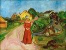 Frau in rotem Kleid (Straße in Åsgårdstrand)