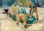 Straßenarbeiter im Schnee