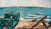 Strand mit Boot und Liegestuhl