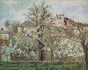 Potager et arbres en fleurs, printemps, Pontoise