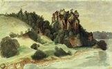 Ansicht eines Felsenschlosses an einem Fluss, ca. 1495