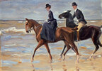 Reiter und Reiterin am Strand