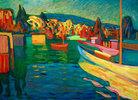 Herbstlandschaft mit Booten