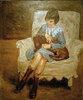 Die Enkelin Liebermanns mit Dackel auf dem Schoß
