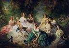 Die Kaiserin Eugénie (1826-1920), umgeben von ihren Hofdamen