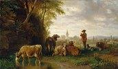 Hirt und Kühe, in der Ferne ein Dorf
