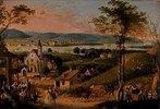 Blick von einem Wiener Heurigen-Vorort über die Donau mit Weinlese- und