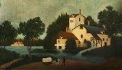 Landschaft mit Wassermühle und Wagen