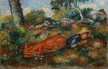 Junges Mädchen, im Schatten ruhend (Jeune fille couchée sur l'herbe). About