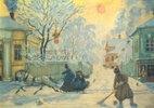 Straßenkehrer und Pferdeschlitten an einem frostigen Wintertag
