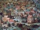 Der Turmbau zu Babel. Detail: Häuser
