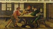 Schulmeister erklärt zwei des Lesens unkundigen Gesellen ein Schriftstück