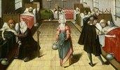 Mittelalterlicher Krankensaal. Aus: Die sieben Werke der Barmherzigkeit