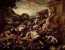 Bau der Arche Noah. 1588. Lwd., 128 x 166 cm