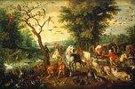 Noah führt die Tiere in die Arche