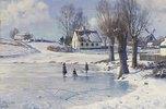 Auf dem zugefrorenen Dorfteich (Lönholt)