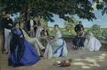 Familientreffen. Der Künstler mit seiner Familie auf der Terrasse in Méric
