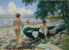 Badende Mädchen am Strand