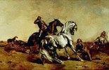 Reiter-Szene in einer Wüste