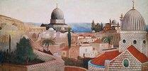 Blick vom Tempelplatz in Jerusalem auf das Tote Meer