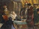 Die erzwungene Abdankung der Königin Maria von Schottland im Schloss Lochleven, 25. Juli