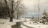 Winterlandschaft mit Bach und See