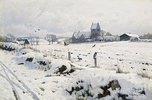 Winterlandschaft mit Dorfkirche bei Holmstrup
