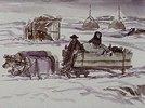 Ochsenschlitten mit Torfladung im Winter