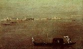 Gondoliere auf der Lagune vor Venedig
