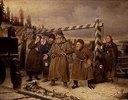 An einer Eisenbahnstation in Russland