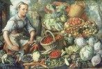 Obst- und Gemüsestilleben mit Marktfrau