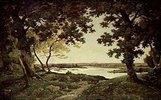 Baum- und Flusslandschaft