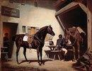 Das Pferd Luitprant vor dem Schluxerwirt (1870-ger Jahre)