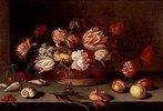 Stilleben mit Blumen, Früchten, Muscheln und Schmetterling