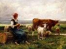 Hirtin mit Schafen, Kuh und Ziege