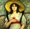 Bildnis einer jungen Frau mit grossem Sommerhut