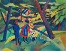 Kinder mit Ziege im Wald