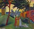 Landschaft mit drei Mädchen