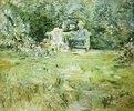 Grossvater und Kind auf der Gartenbank