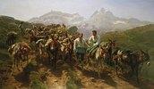 Maultiere beim Überqueren der Pyrenäen