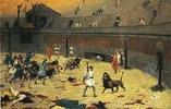 Nach dem Kampf zwischen Sklaven und Wildkatzen im römischen Zirkus