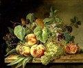 Stilleben mit Trauben und Pfirsichen