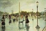 Auf der Place de la Concorde bei Regen