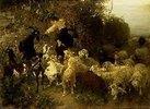 Knaben beim Füttern von Ziegen und Schafen