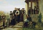 Beim Verlassen der Kirche nach dem protestantischen Gottesdienst (Sortie d'Eglise Protestante)