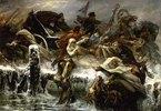 Napoleon Bonaparte auf der Flucht aus Russland 1812. Entstanden