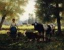 Melkmädchen mit seinen Kühen